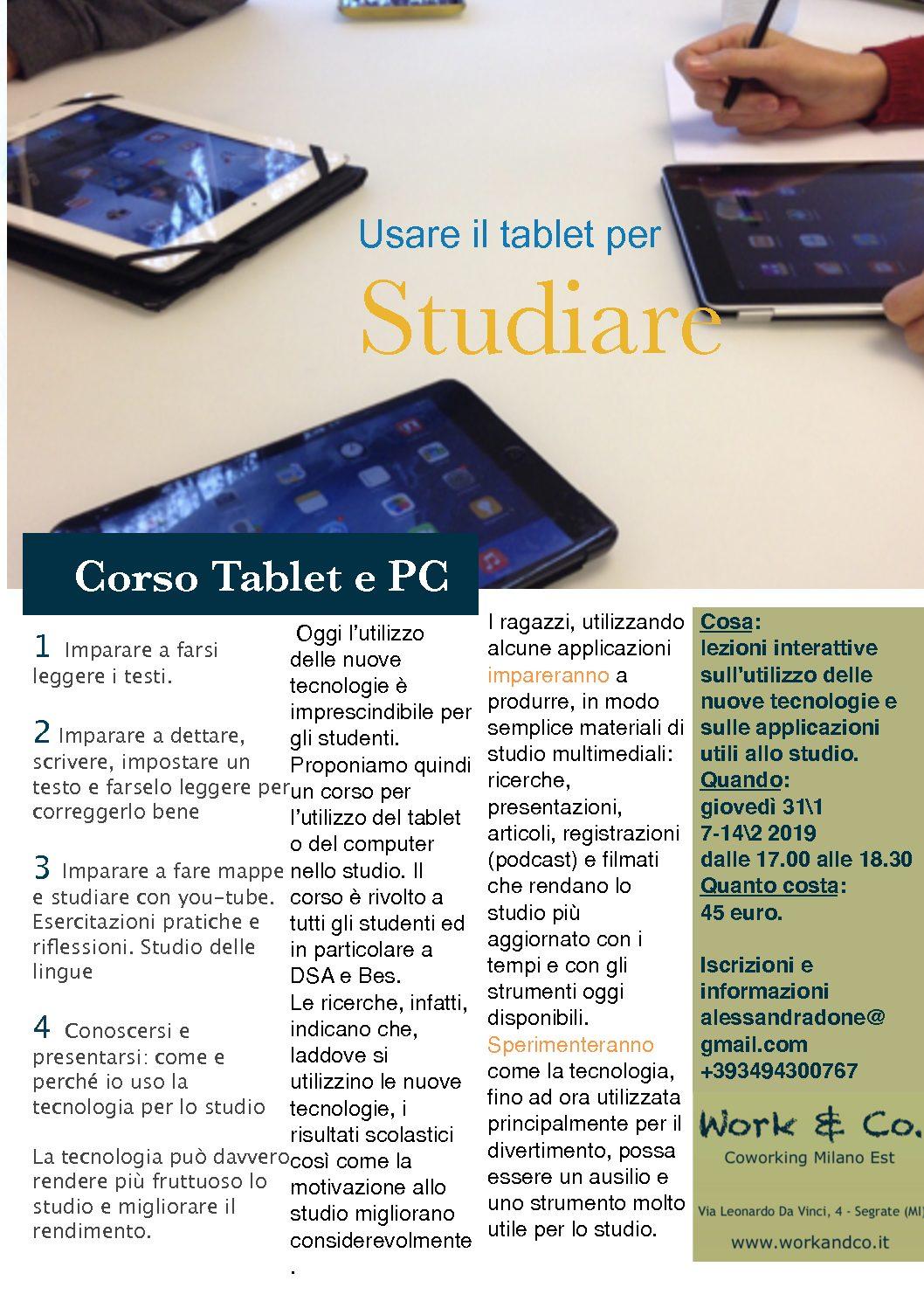 Corso tablet per lo studio