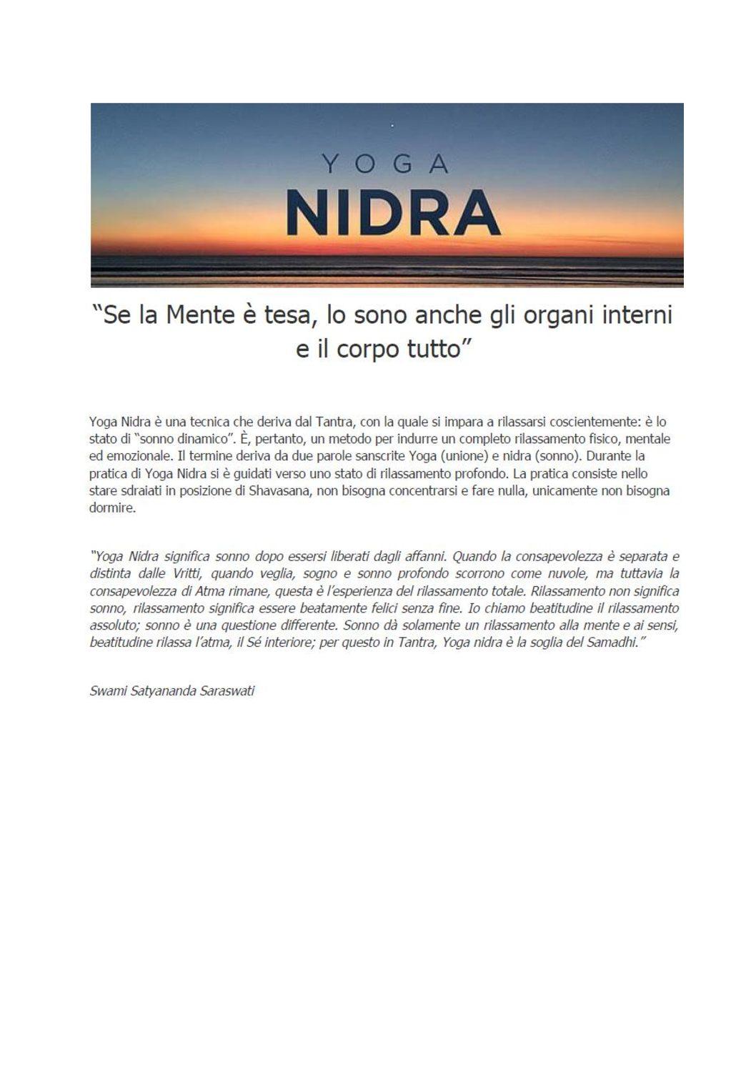 Corso di Formazione intensivo di Yoga Nidra